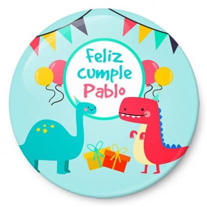 Chapa cumpleaños dinosaurios