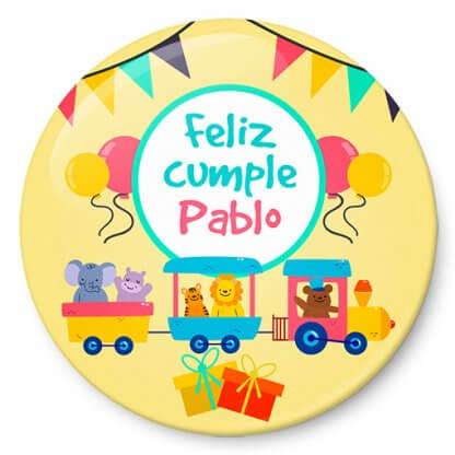 Chapa cumpleaños tren